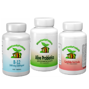 WFP Yeast Away-candida, b12 sublingual, alive probiotics